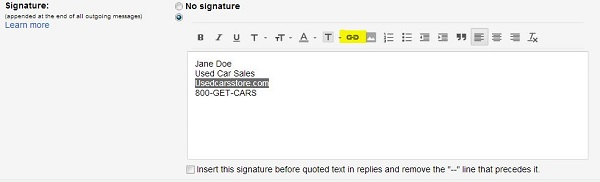 custom signature in gmail settings
