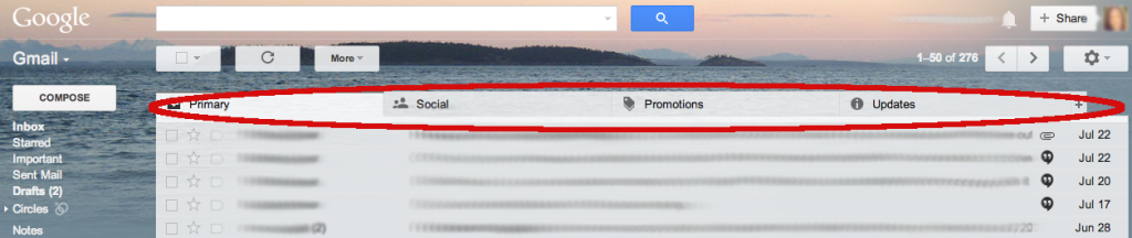 Gmail's New Tabs Circled